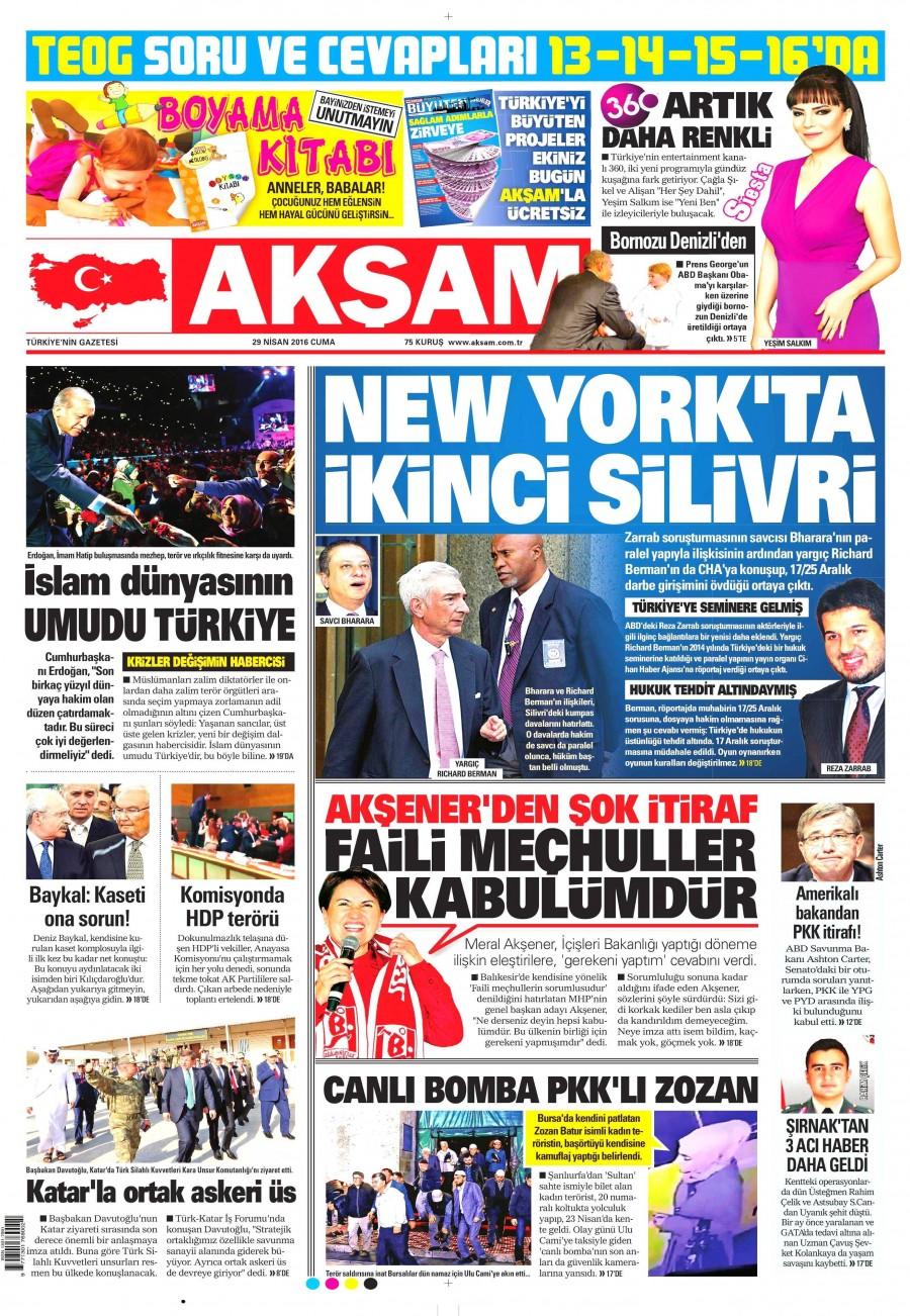 Akşam Gazetesi Oku Bugün 29 Nisan 2016 Cuma