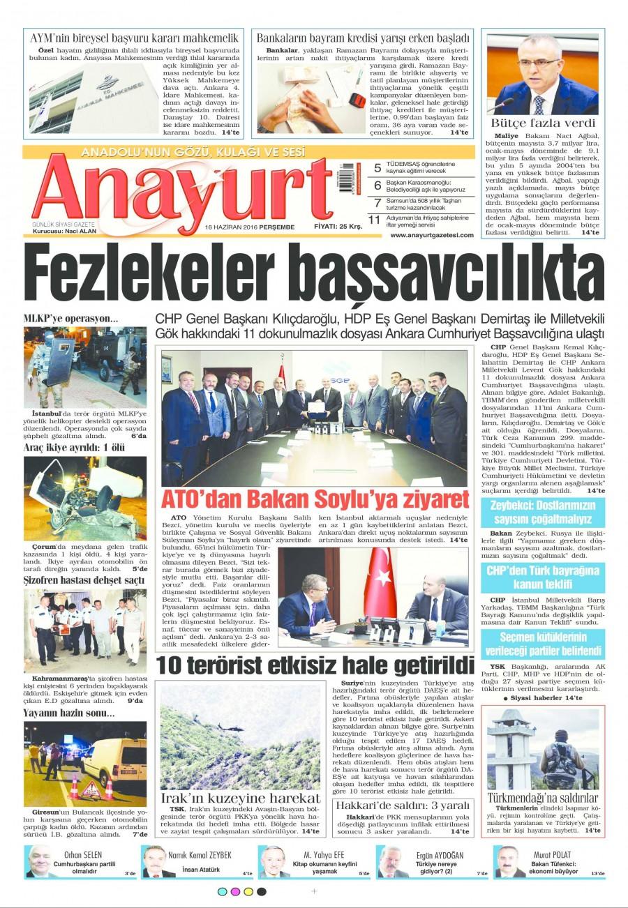 Anayurt Gazetesi Oku 17 Haziran 2016 Cuma