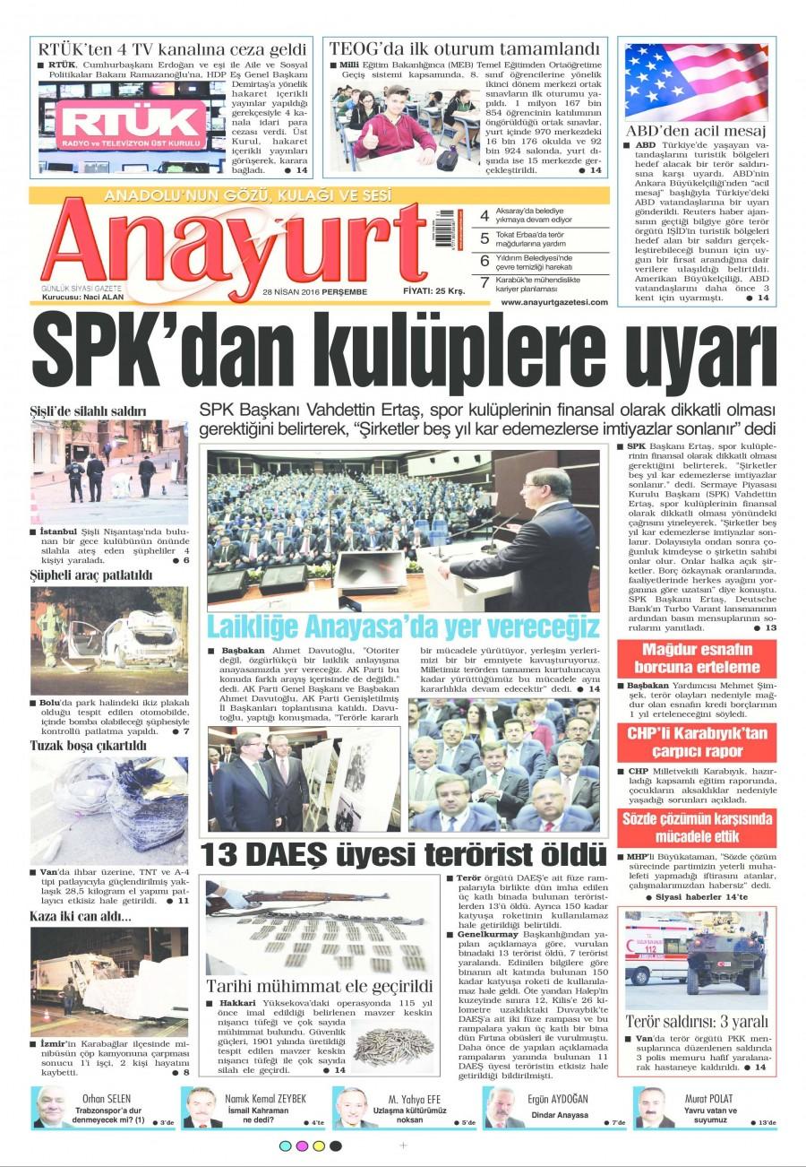 Anayurt Gazetesi Oku 28 Nisan 2016 Perşembe