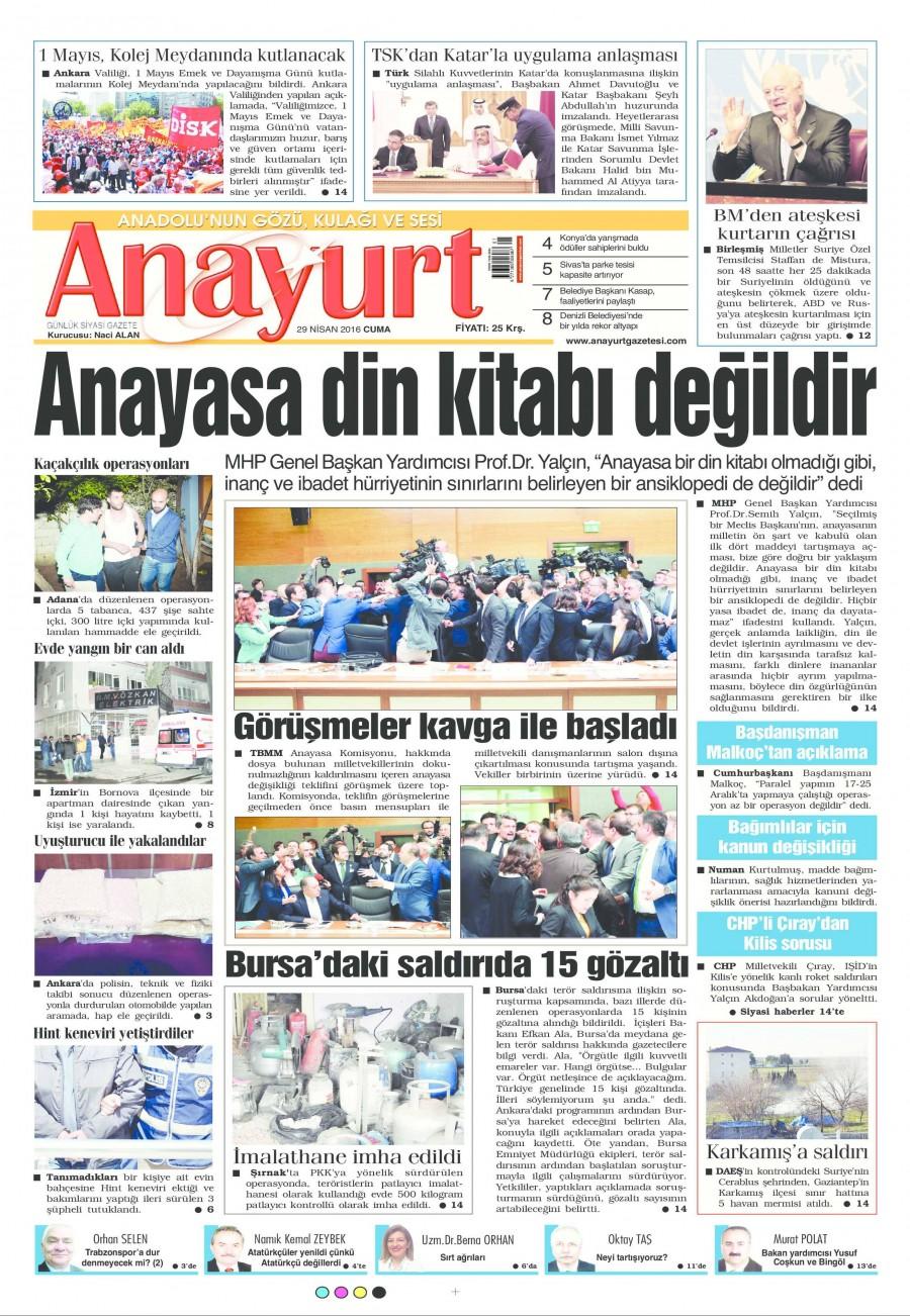 Anayurt Gazetesi Oku Bugün 29 Nisan 2016 Cuma