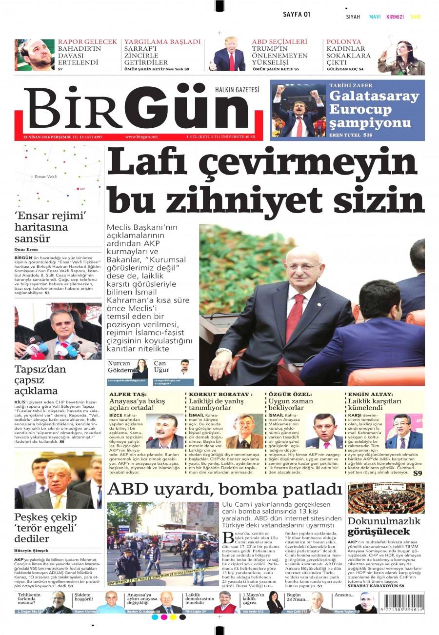 Birgün Gazetesi Oku Bugün 28 Nisan 2016 Perşembe
