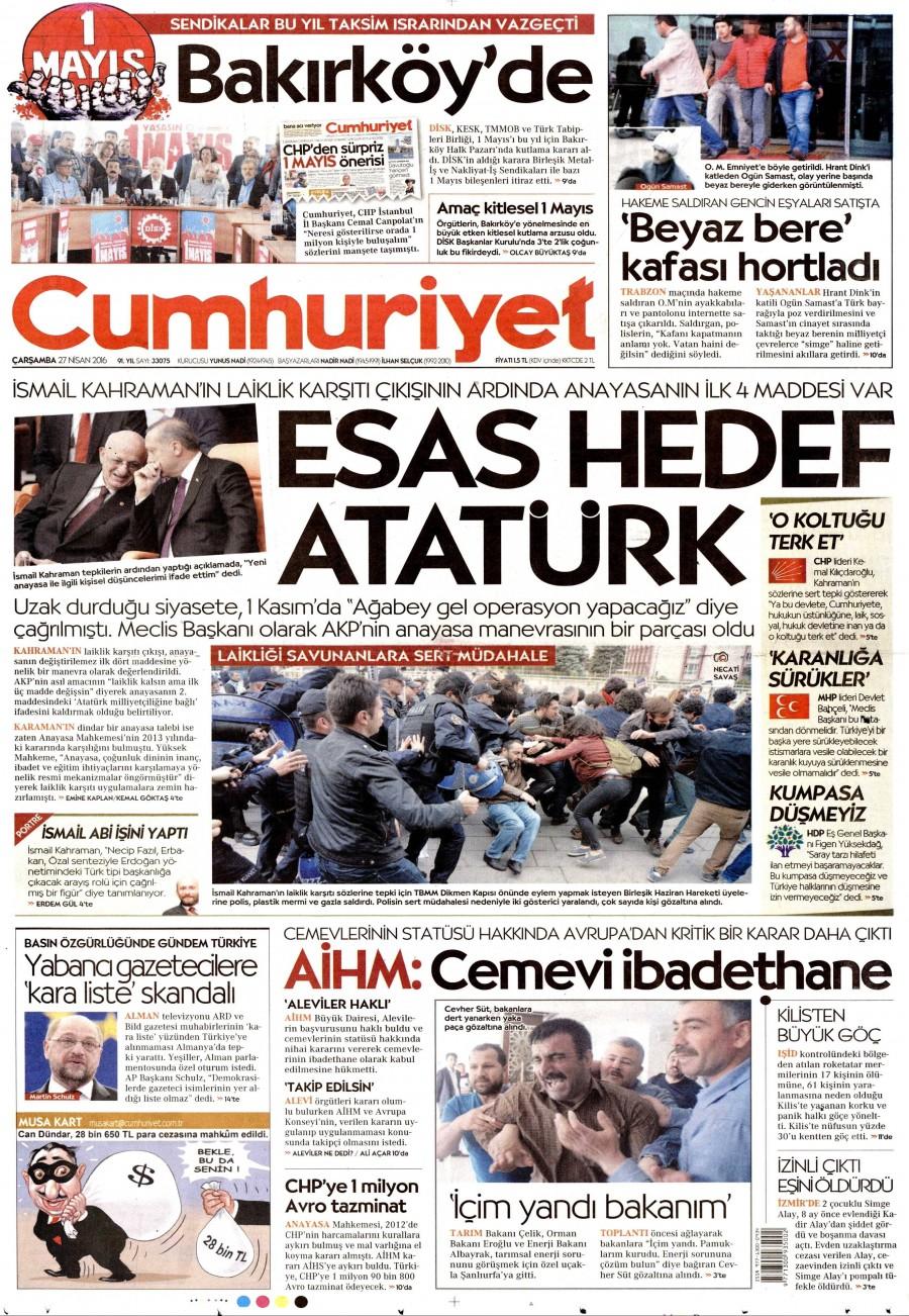 Cumhuriyet Gazetesi Oku 27 Nisan 2016 Çarşamba