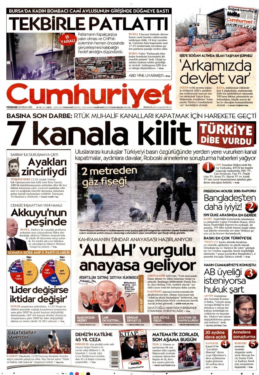 Cumhuriyet Gazetesi Oku Bugün 28 Nisan 2016 Perşembe