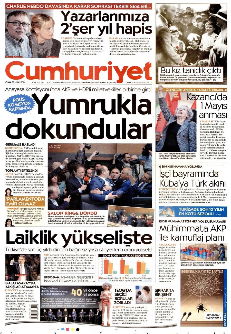 Cumhuriyet Gazetesi Oku Bugün 29 Nisan 2016 Cuma