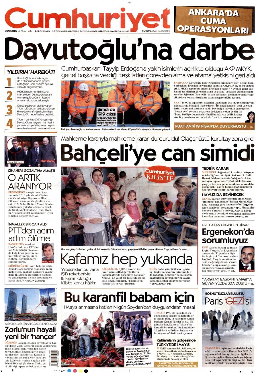 Cumhuriyet Gazetesi Oku Bugün 30 Nisan 2016 Cumartesi