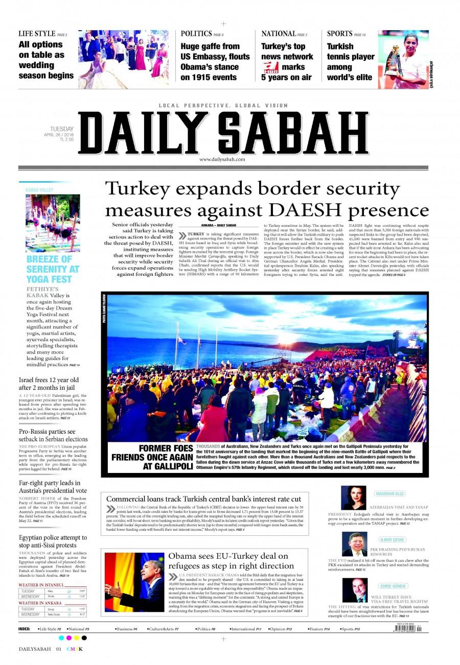 Daily Sabah Gazetesi Oku Bugün 27 Nisan 2016 Çarşamba