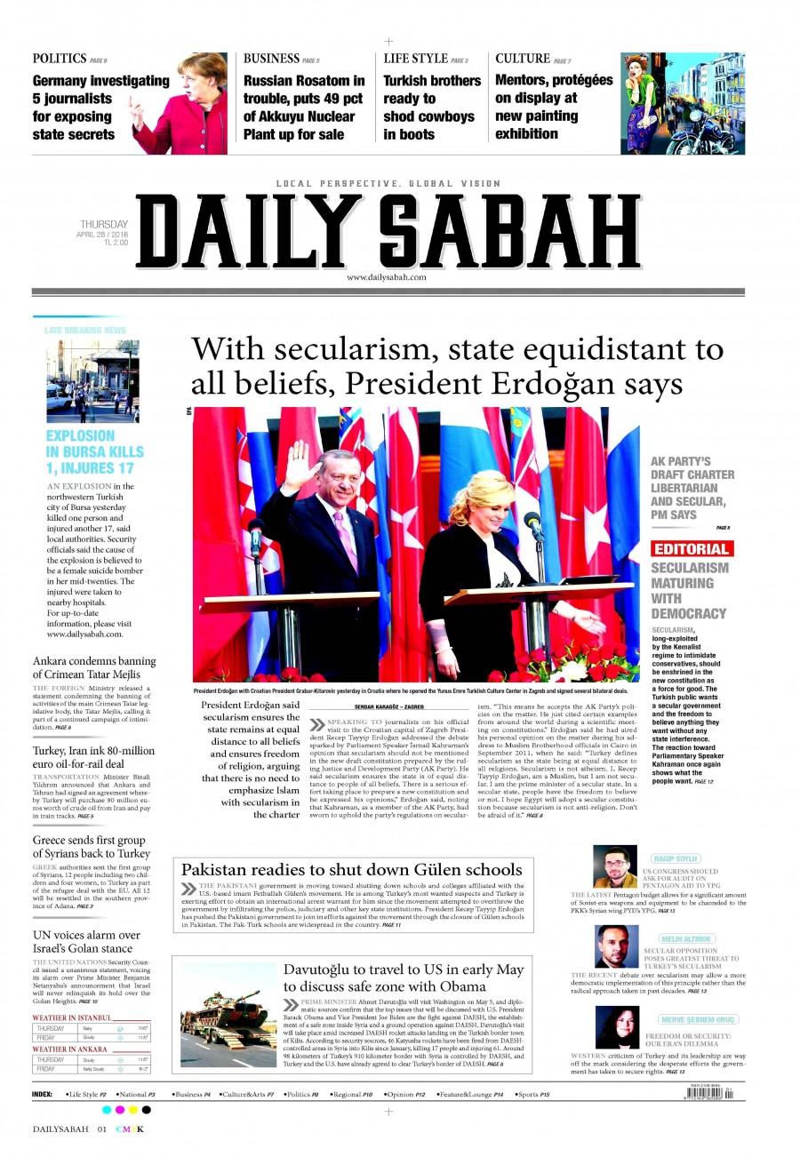 Daily Sabah Gazetesi Oku Bugün 28 Nisan 2016 Perşembe