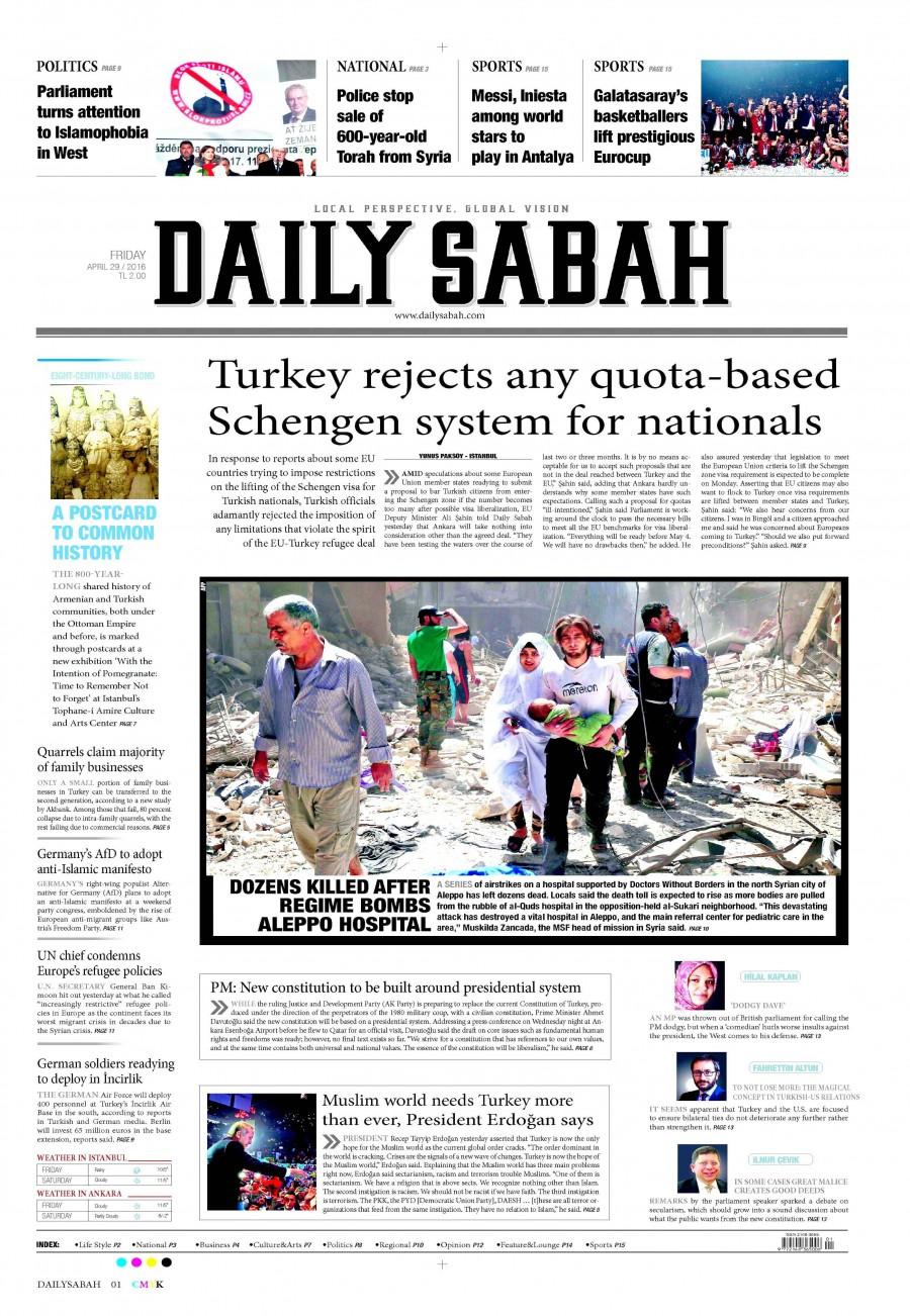 Daily Sabah Gazetesi Oku Bugün 29 Nisan 2016 Cuma