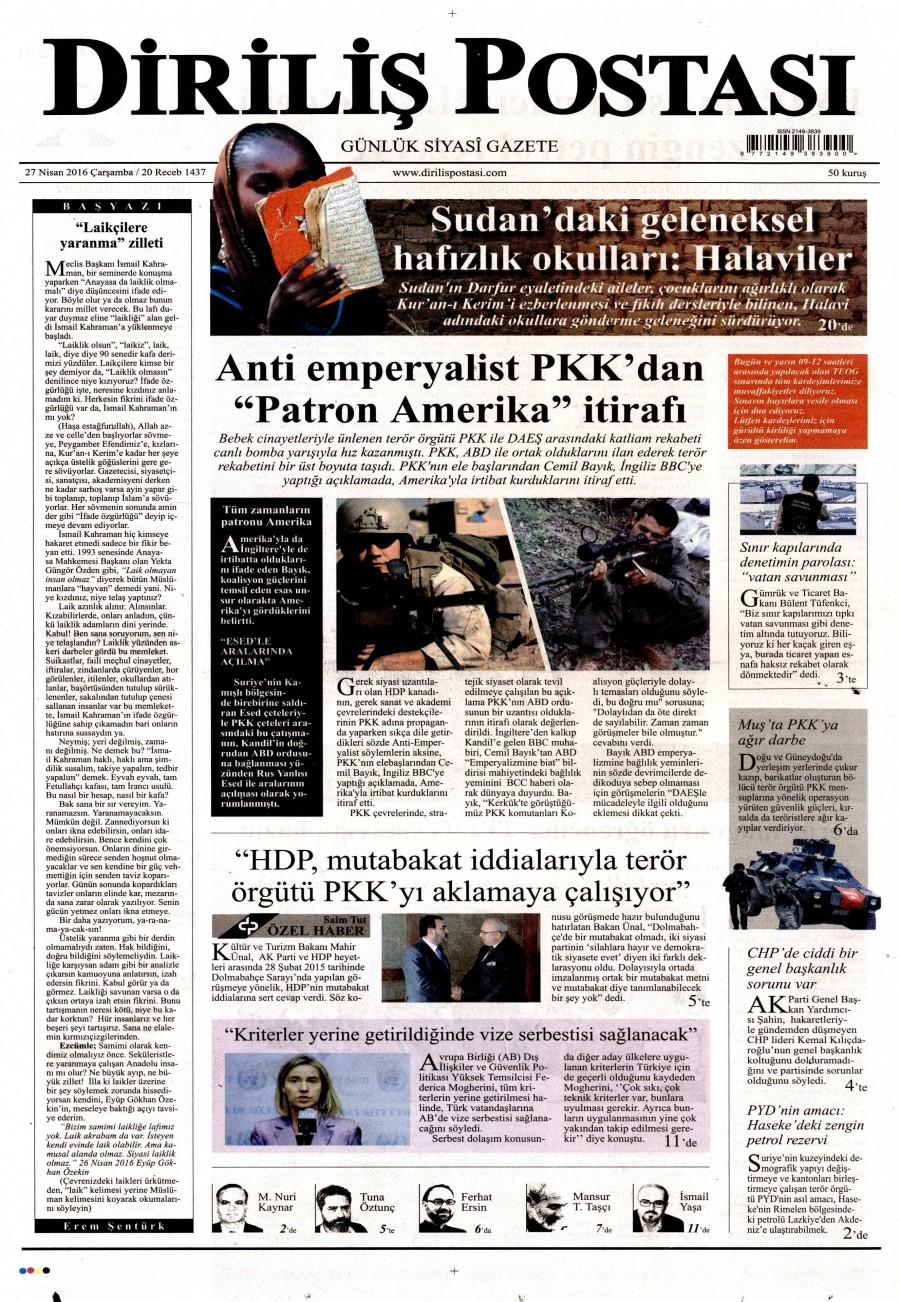 Diriliş Postası Gazetesi Oku 27 Nisan 2016 Çarşamba