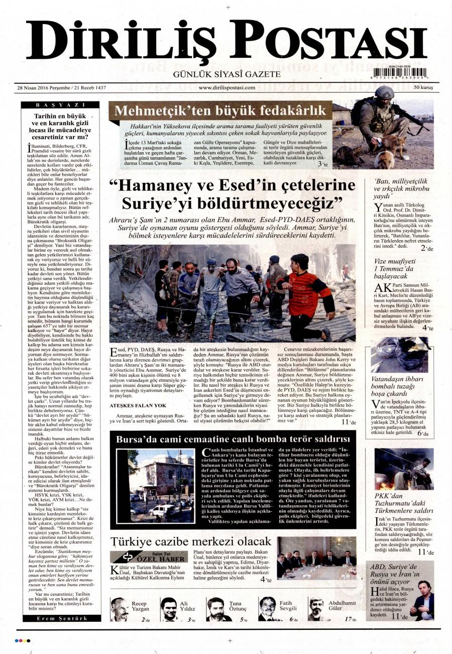 Diriliş Postası Gazetesi Oku 28 Nisan 2016 Perşembe