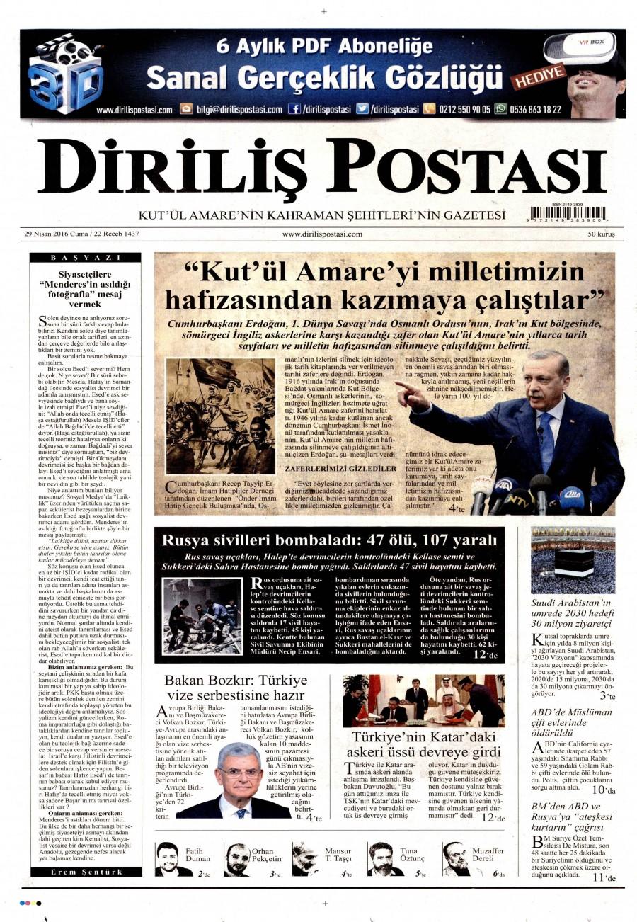 Diriliş Postası Gazetesi Oku Bugün 29 Nisan 2016 Cuma