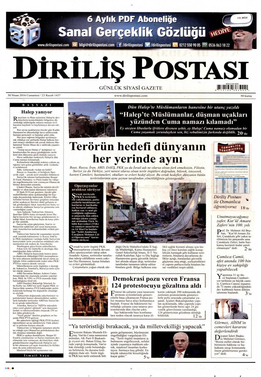Diriliş Postası Gazetesi Oku Bugün 30 Nisan 2016 Cumartesi