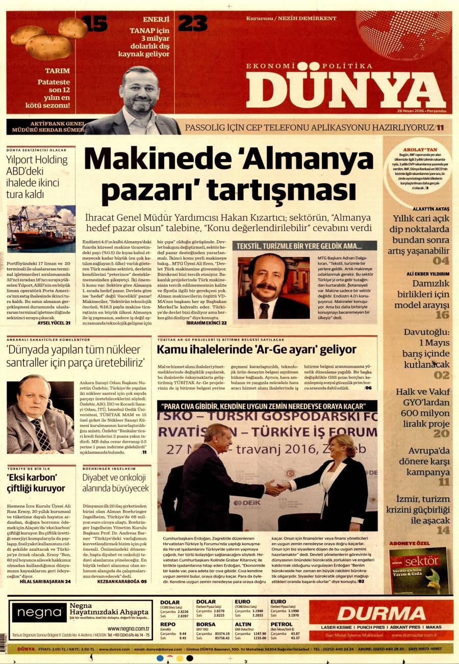 Dünya Gazetesi Oku 28 Nisan 2016 Perşembe
