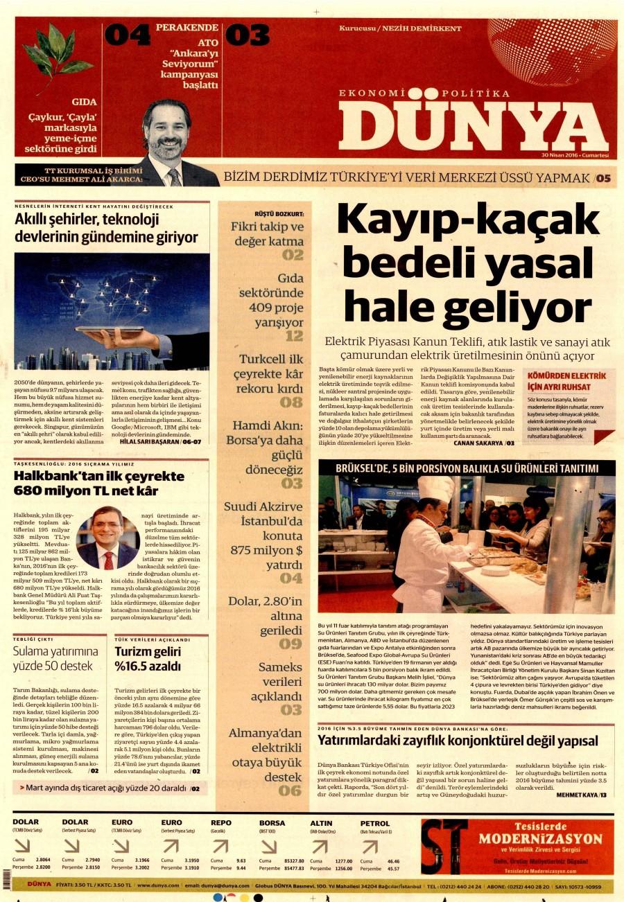 Dünya Gazetesi Oku Bugün 30 Nisan 2016 Cumartesi