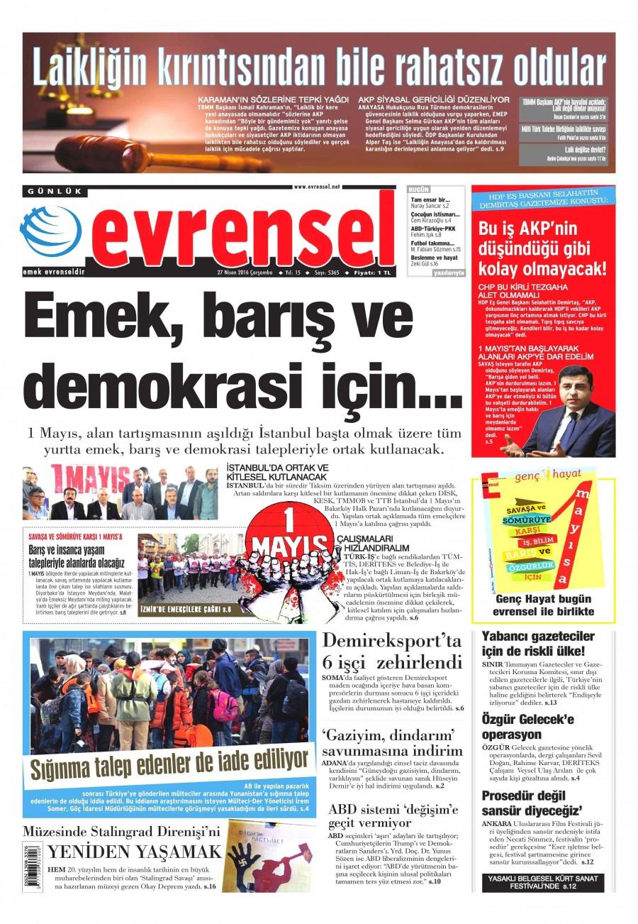 Evrensel Gazetesi Oku 27 Nisan 2016 Çarşamba