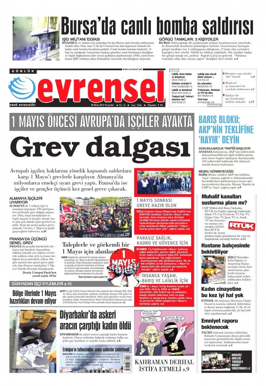 Evrensel Gazetesi Oku 29 Nisan 2016 Cuma