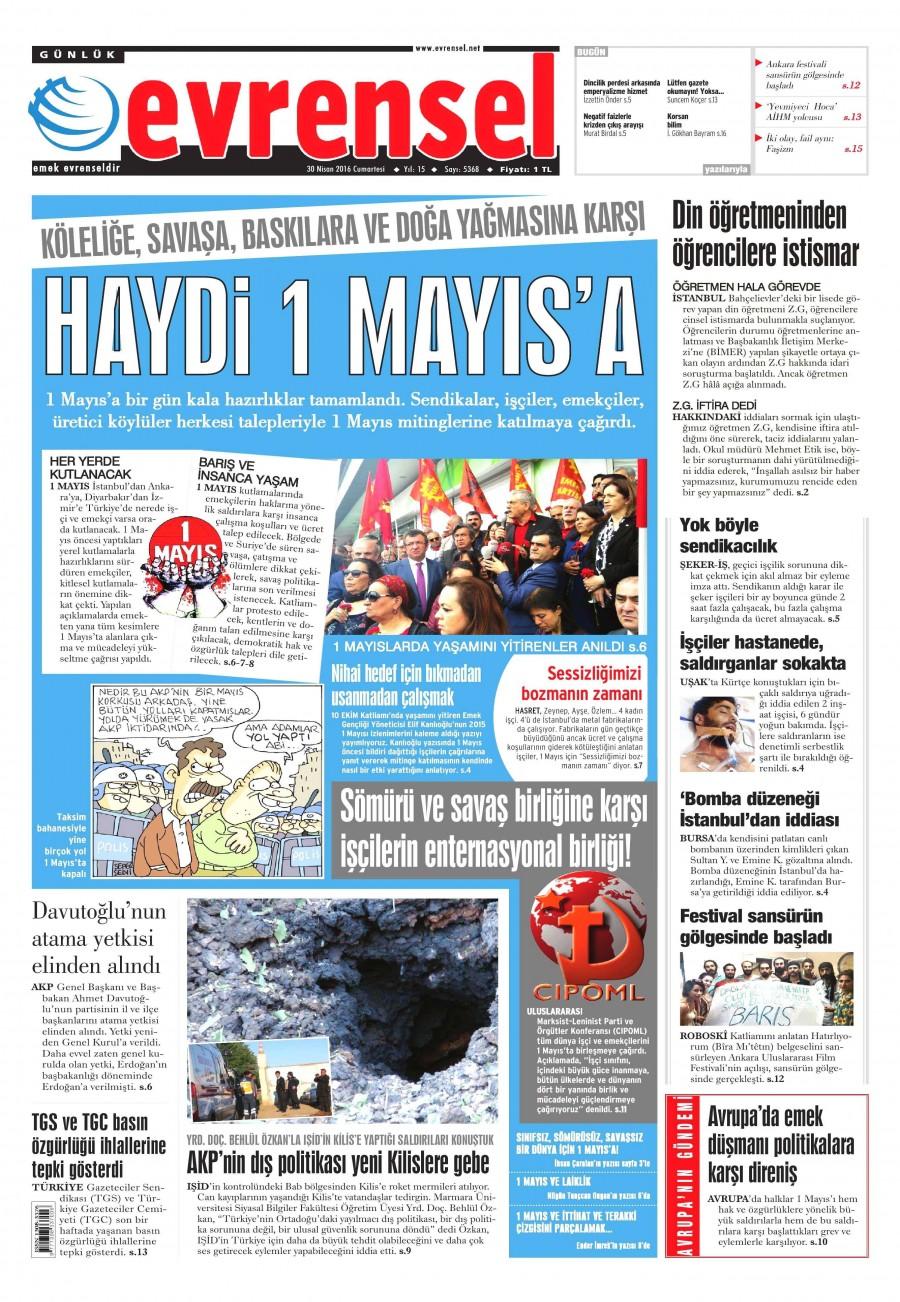 Evrensel Gazetesi Oku Bugün 30 Nisan 2016 Cumartesi