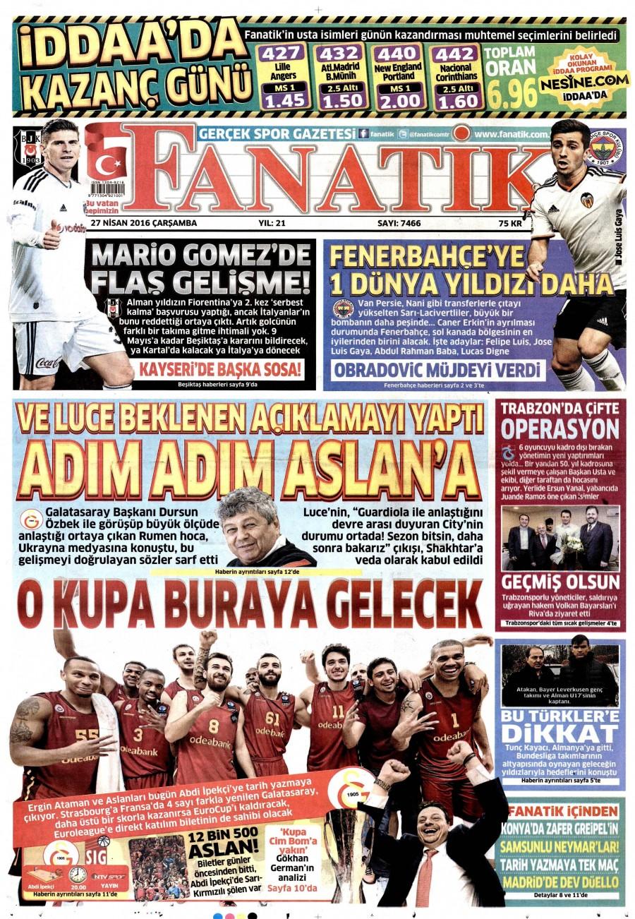 Fanatik Gazetesi Oku 27 Nisan 2016 Çarşamba