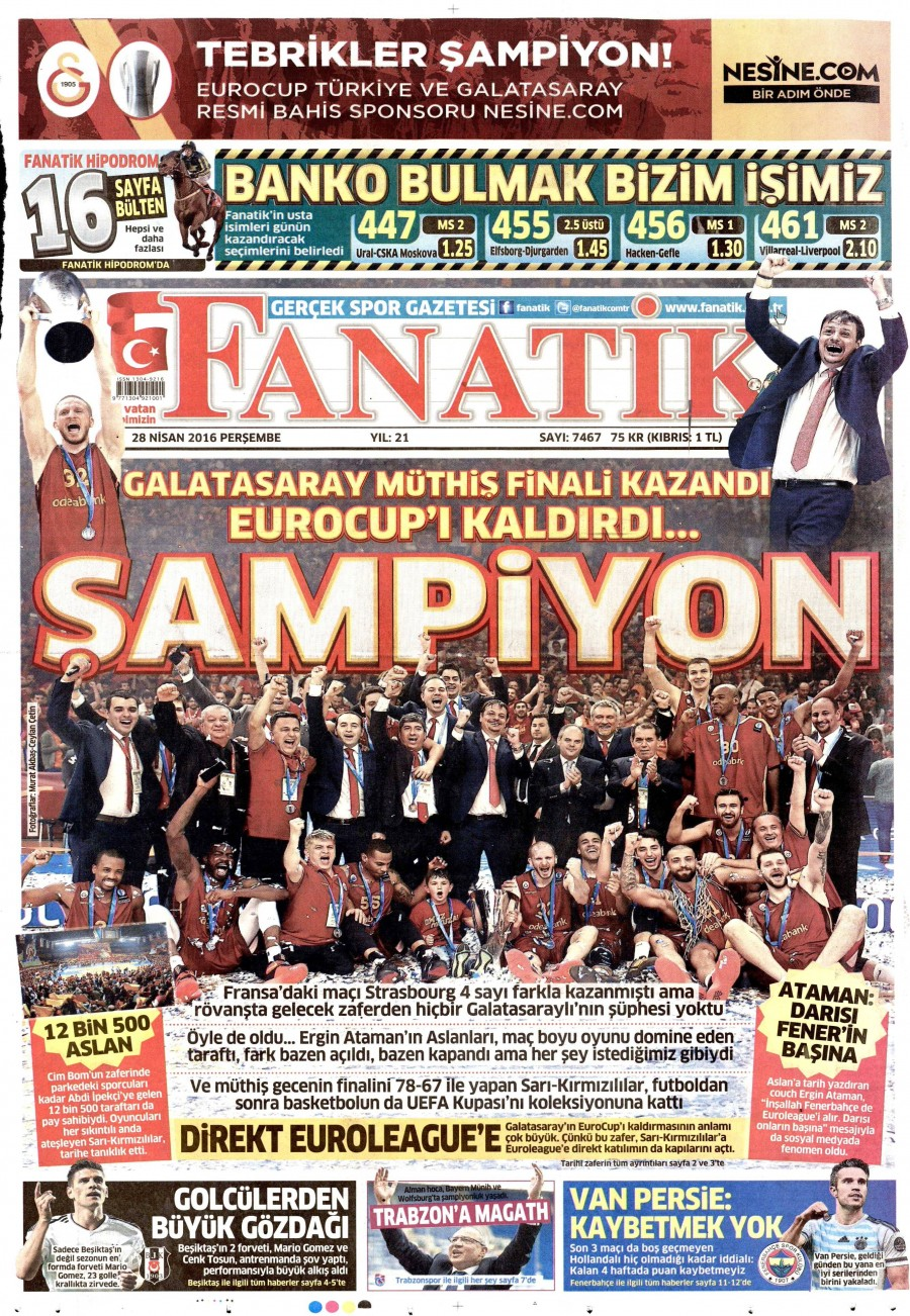 Fanatik Gazetesi Oku 29 Nisan 2016 Cuma