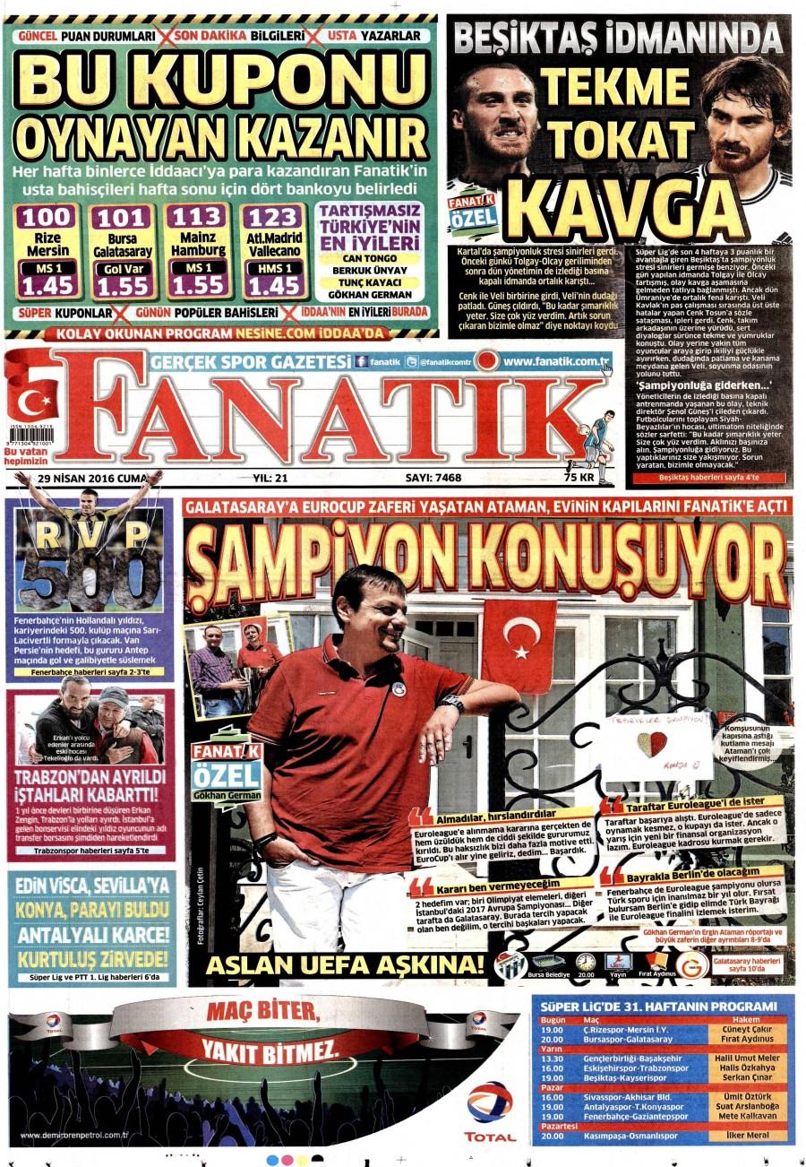 Fanatik Gazetesi Oku Bugün 30 Nisan 2016 Cumartesi