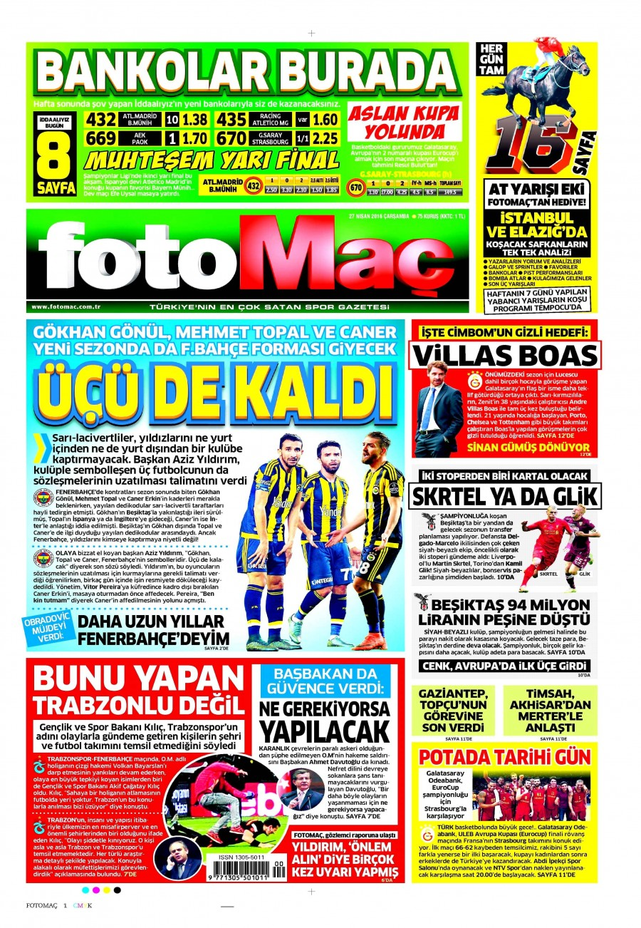 Fotomaç Gazetesi Oku 27 Nisan 2016 Çarşamba