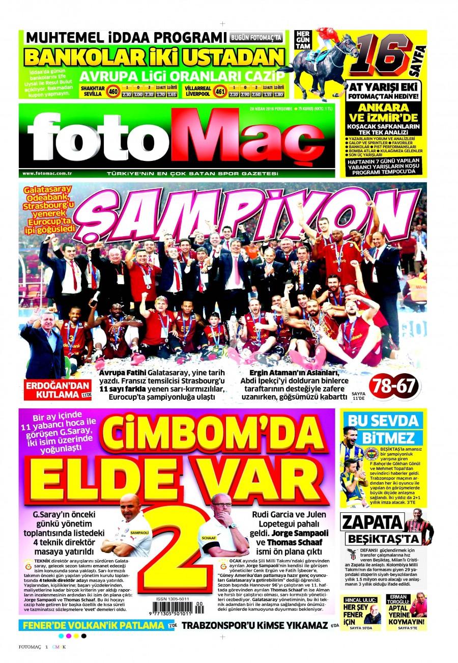Fotomaç Gazetesi Oku 28 Nisan 2016 Perşembe