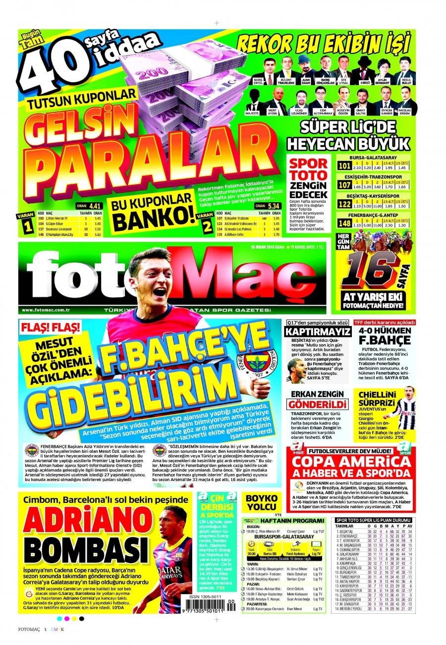 Fotomaç Gazetesi Oku 30 Nisan 2016 Cumartesi