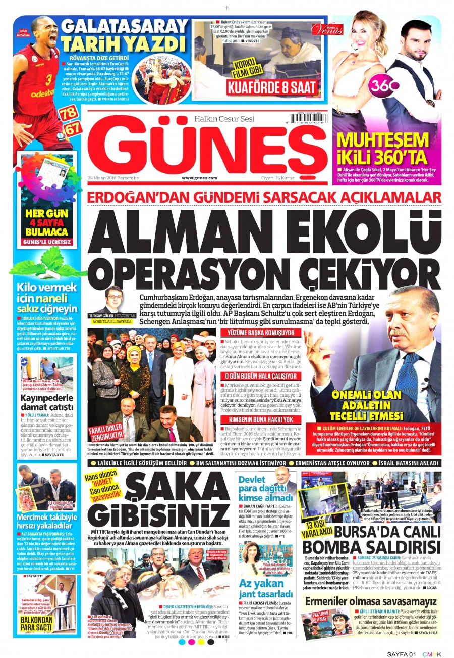 Güneş Gazetesi Oku 28 Nisan 2016 Perşembe