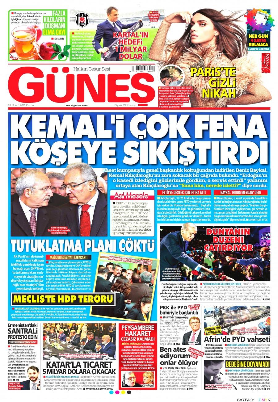 Güneş Gazetesi Oku 30 Nisan 2016 Cumartesi