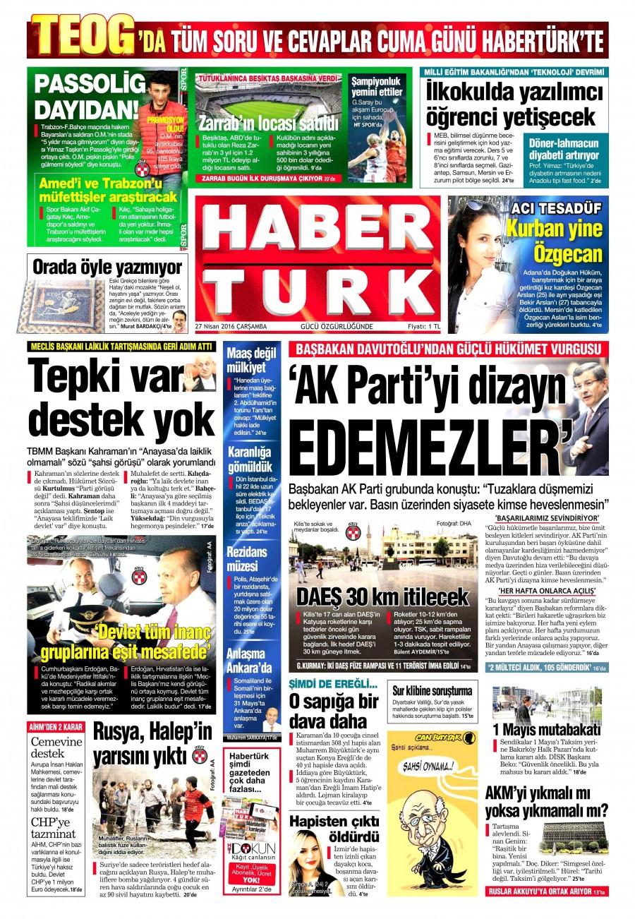 Habertürk Gazetesi Oku 27 Nisan 2016 Çarşamba