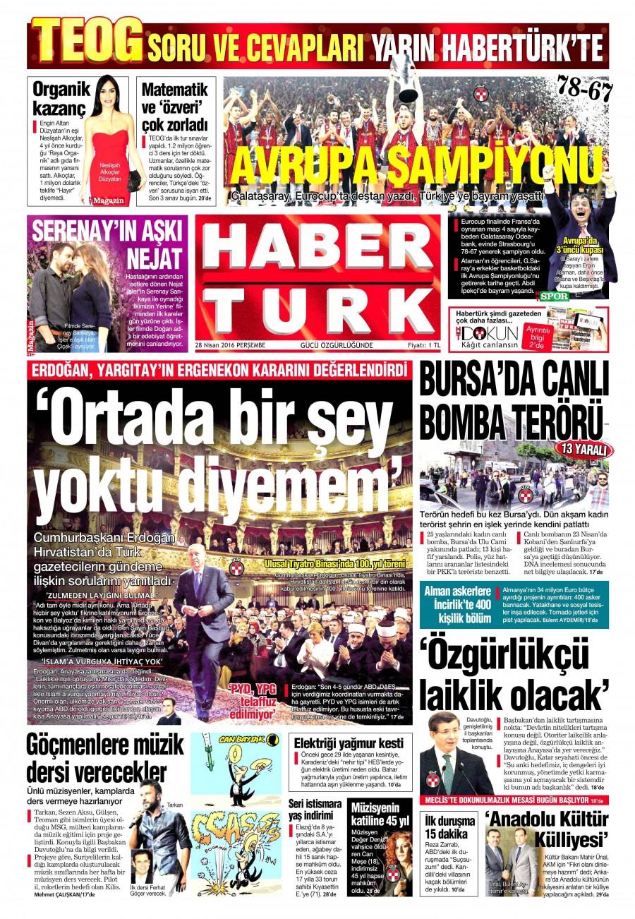 Habertürk Gazetesi Oku Bugün 28 Nisan 2016 Perşembe
