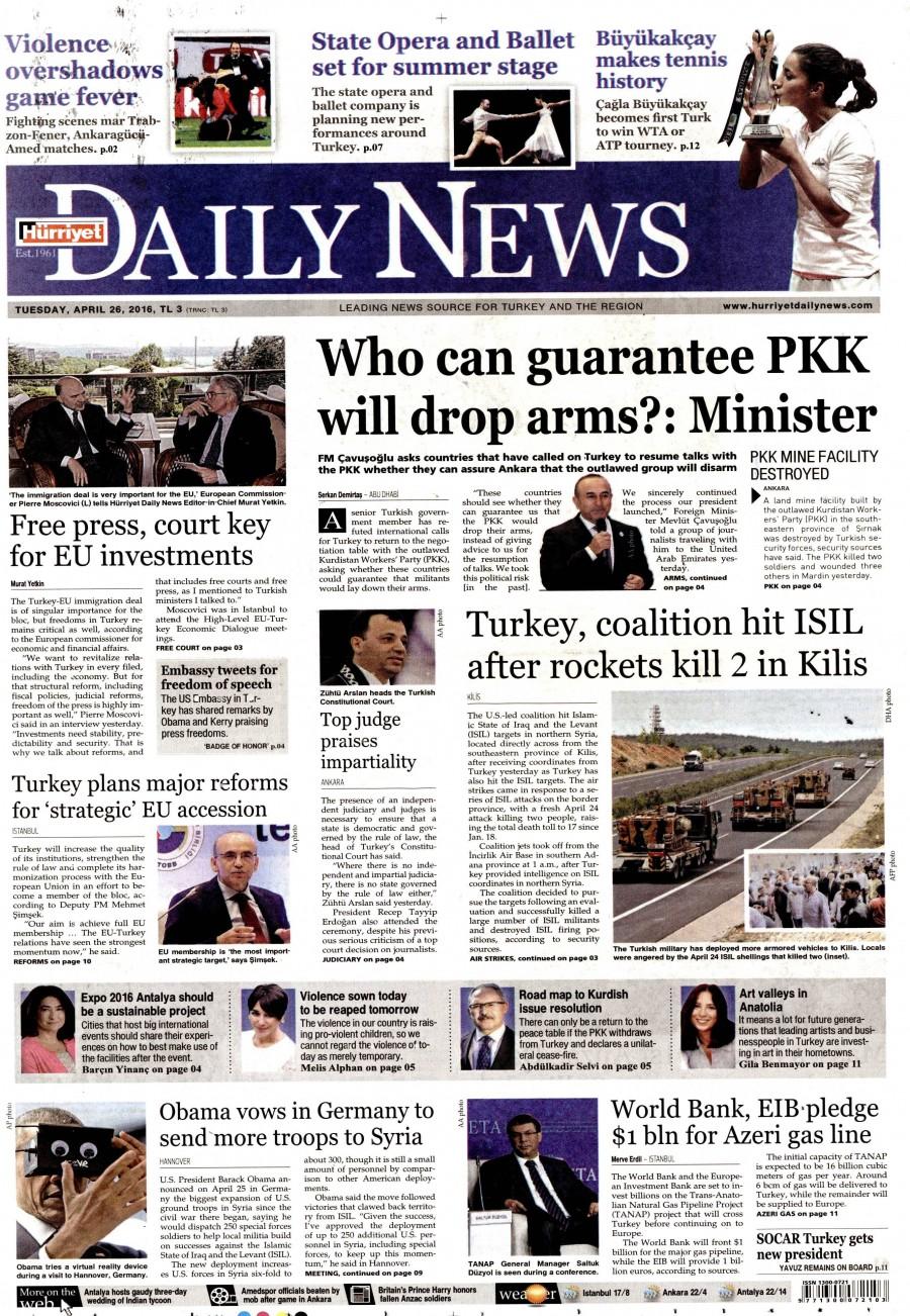 Hürriyet Daily News Gazetesi Oku 27 Nisan 2016 Çarşamba