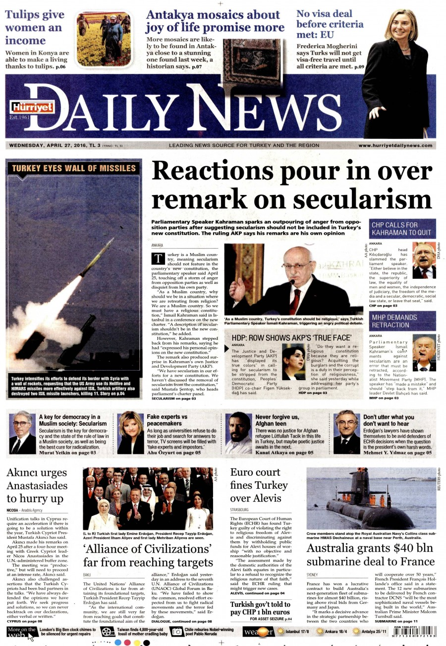 Hürriyet Daily News Gazetesi Oku Bugün 27 Nisan 2016 Çarşamba