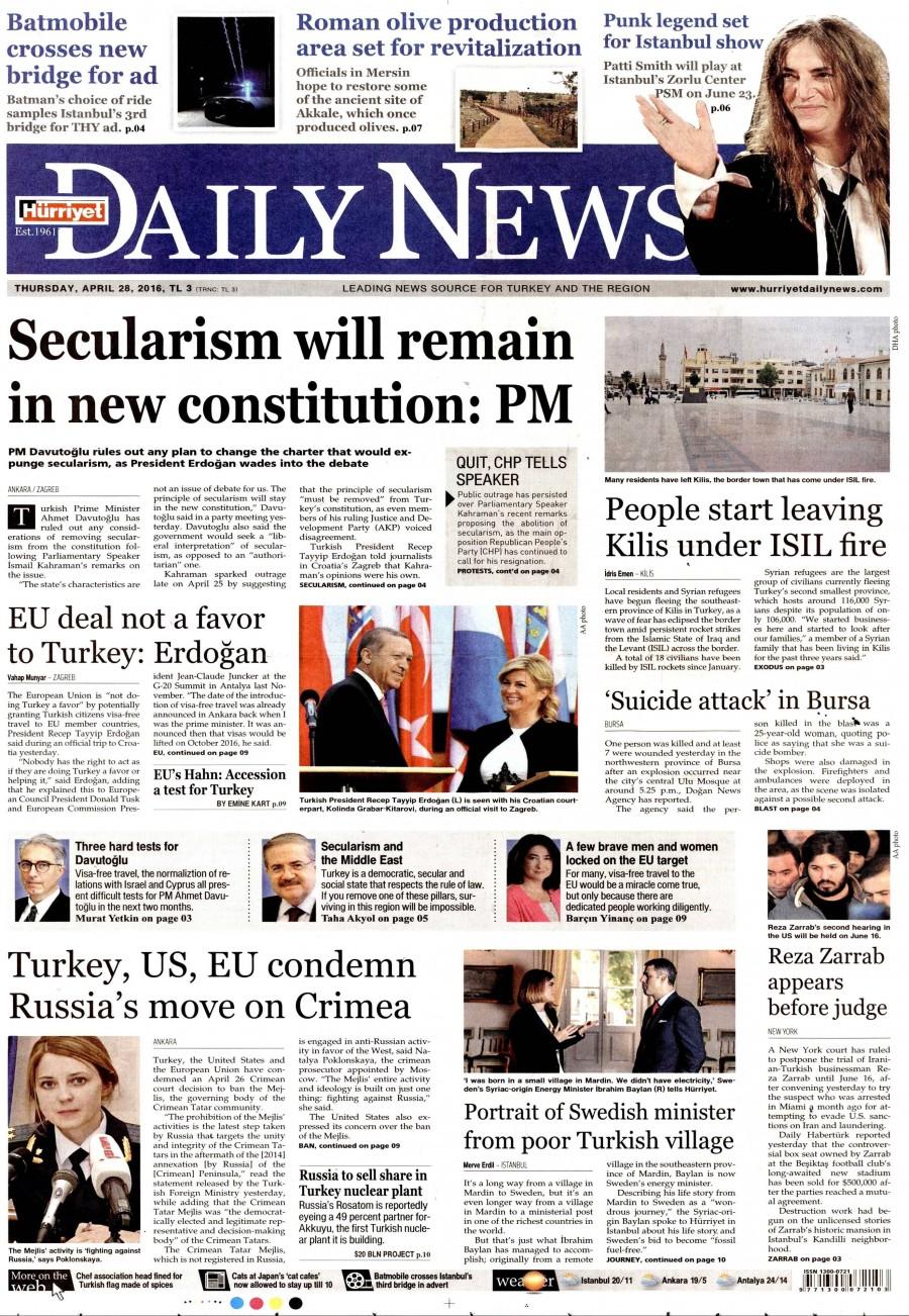 Hürriyet Daily News Gazetesi Oku 29 Nisan 2016 Cuma