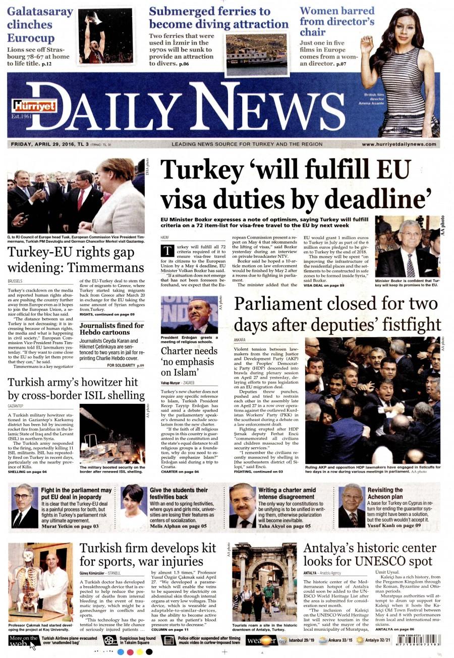 Hürriyet Daily News Gazetesi Oku 30 Nisan 2016 Cumartesi