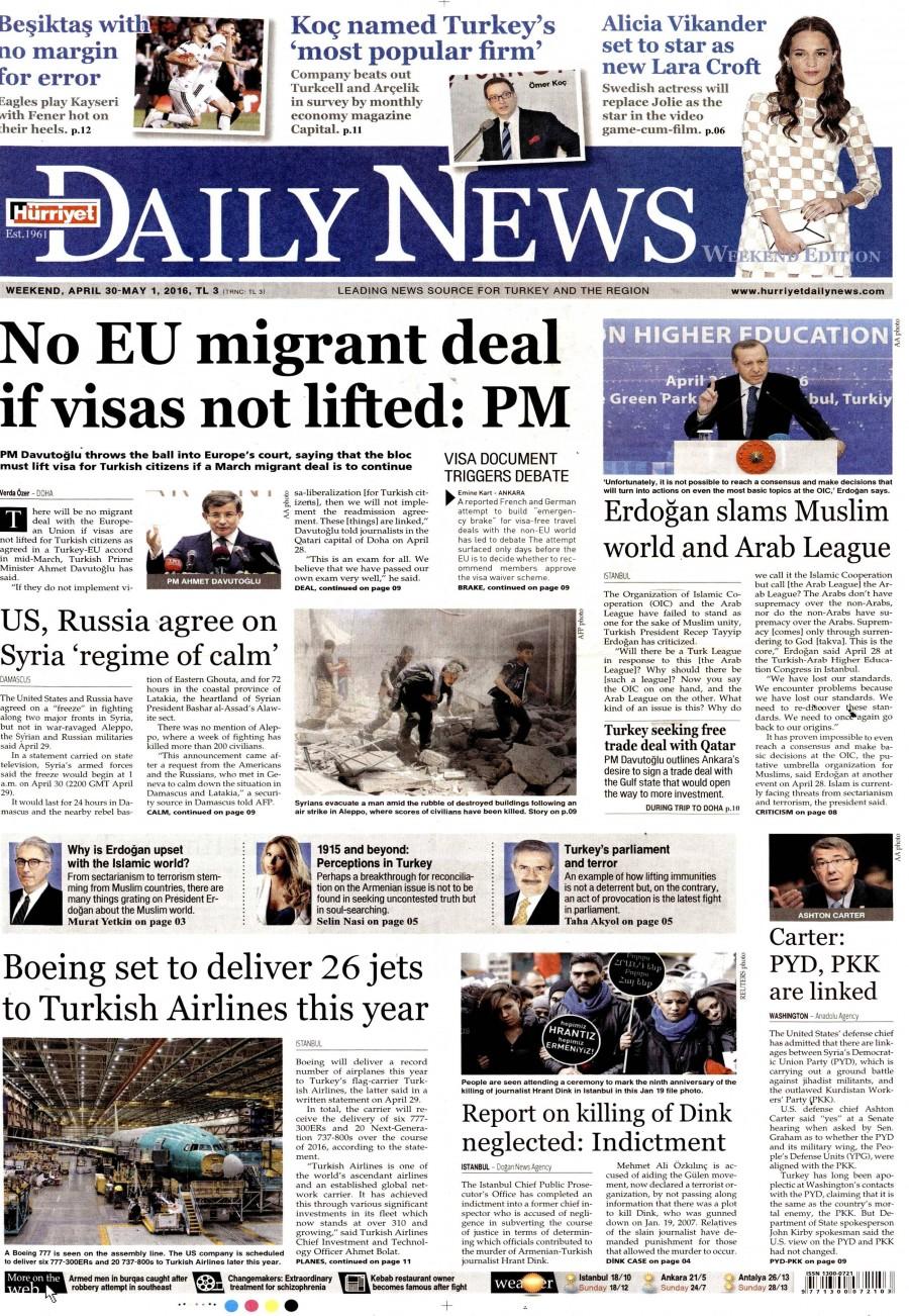 Hürriyet Daily News Gazetesi Oku Bugün 30 Nisan 2016 Cumartesi