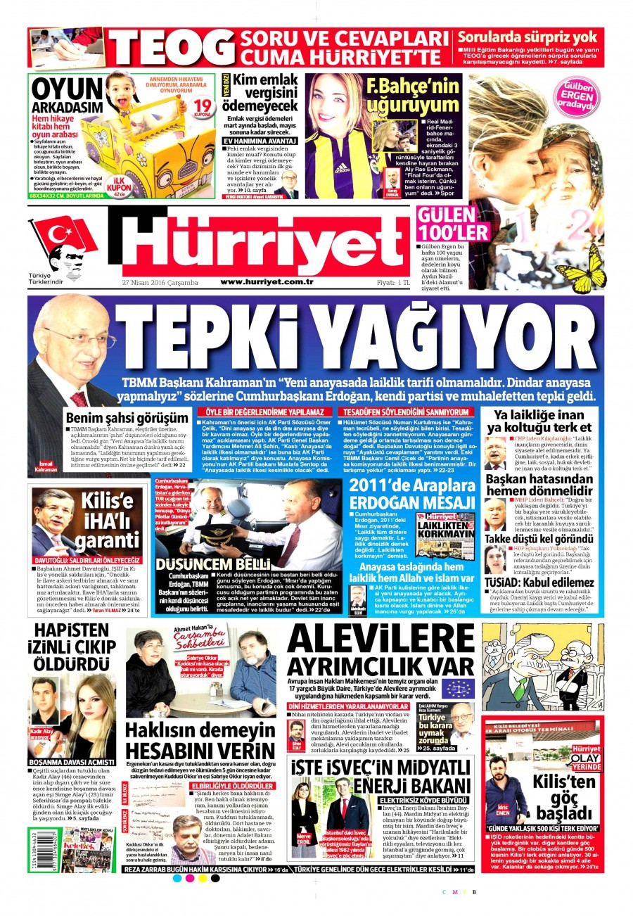 Hürriyet Gazetesi Oku Bugün 27 Nisan 2016 Çarşamba