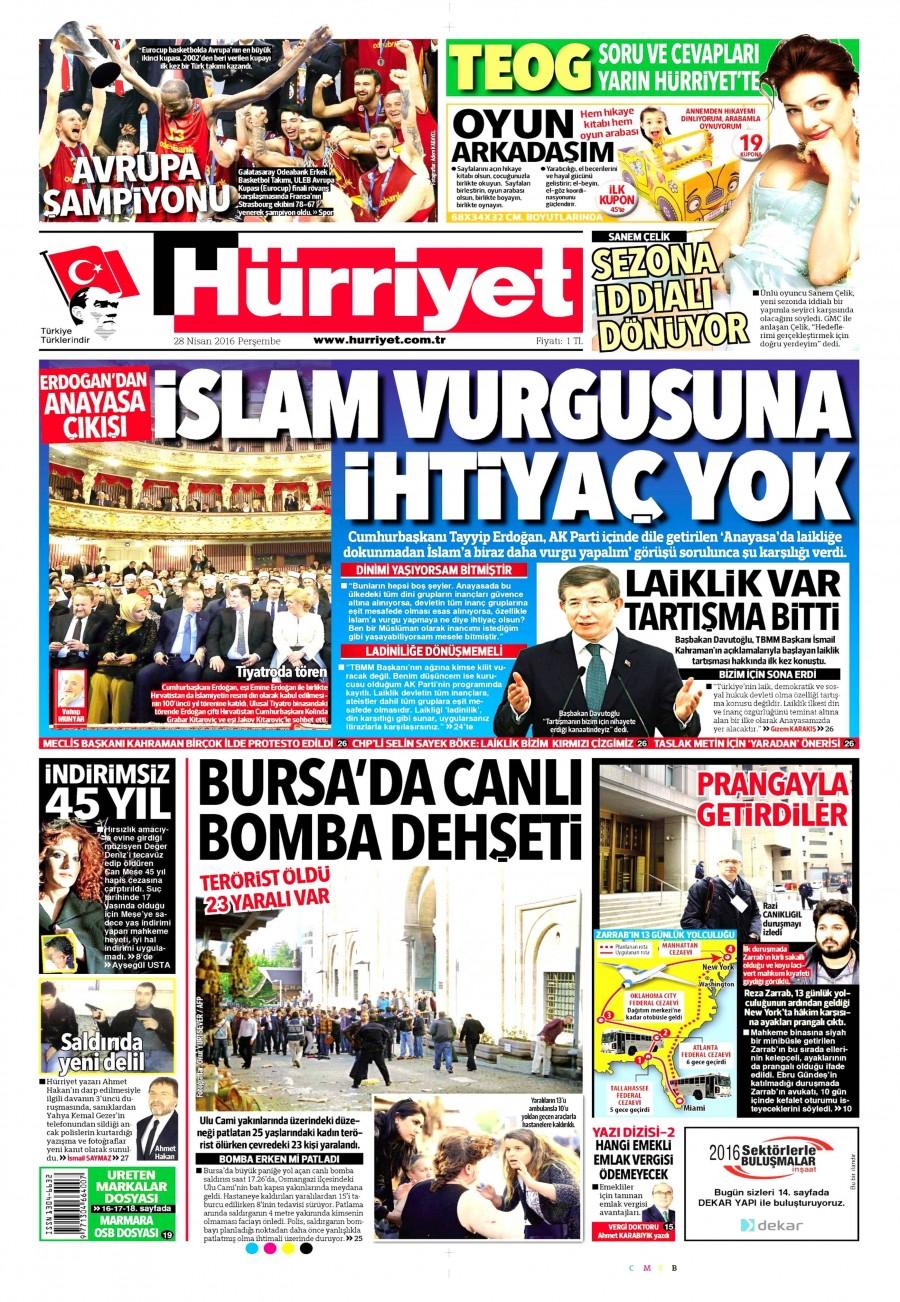 Hürriyet Gazetesi Oku 29 Nisan 2016 Cuma