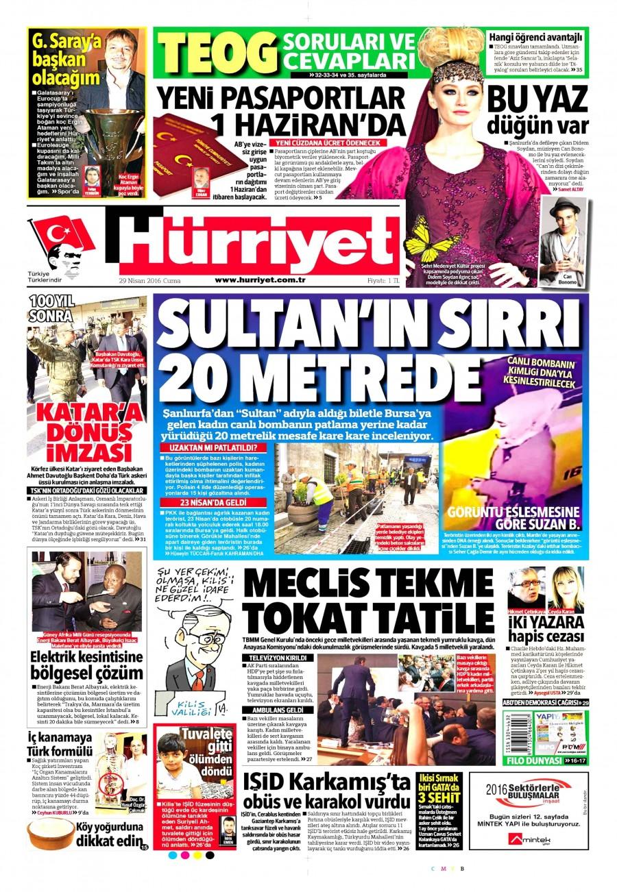 Hürriyet Gazetesi Oku Bugün 29 Nisan 2016 Cuma