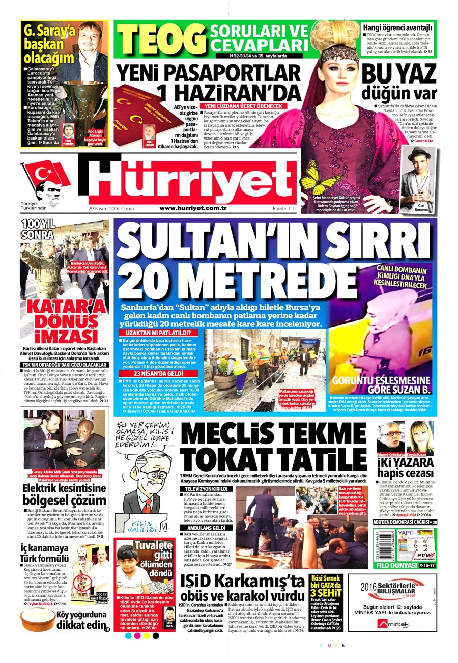 Hürriyet Gazetesi Oku 30 Nisan 2016 Cumartesi