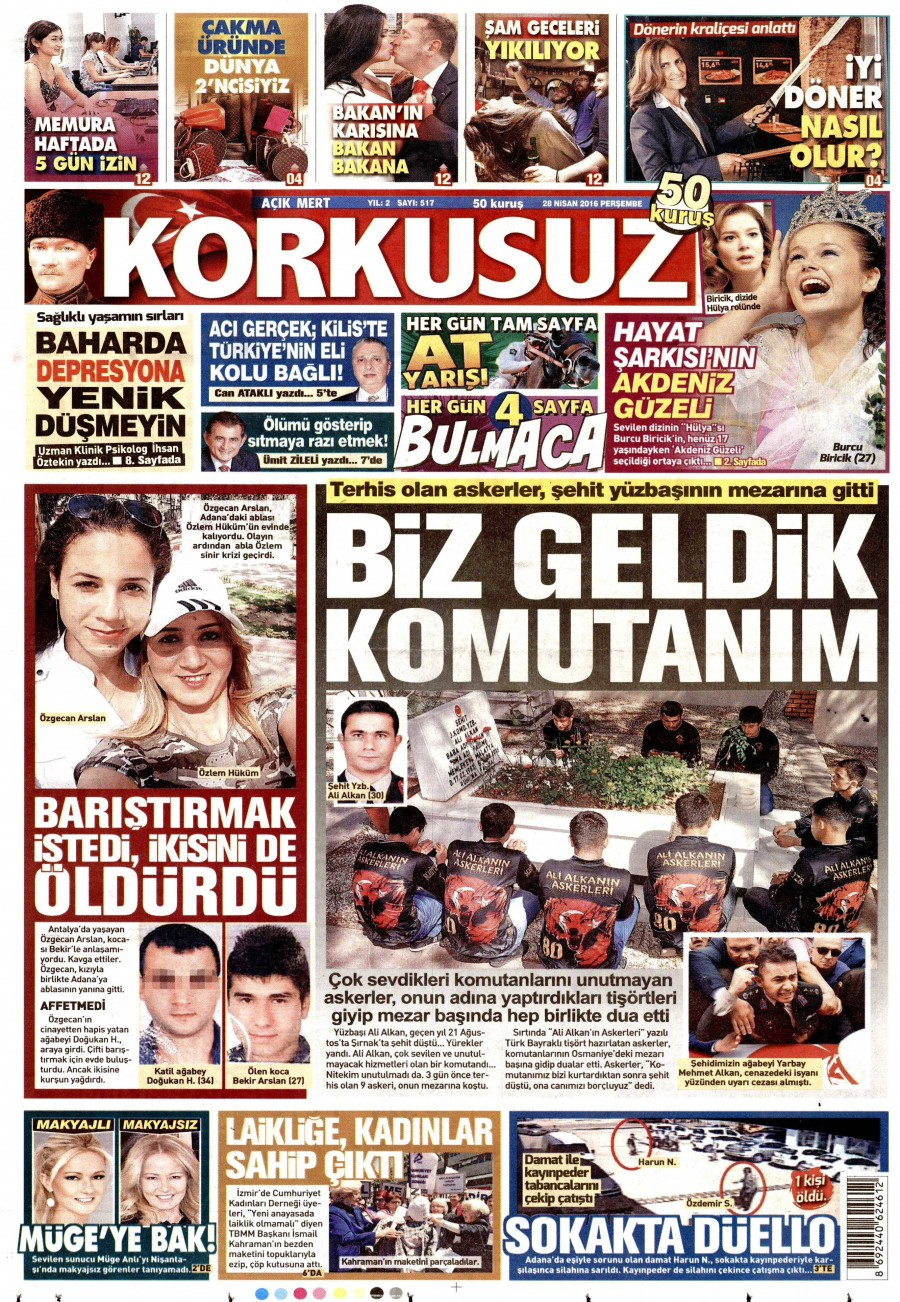 Korkusuz Gazetesi Oku Bugün 28 Nisan 2016 Perşembe