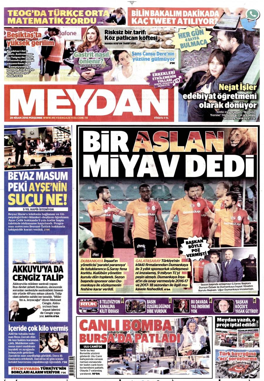 Meydan Gazetesi Oku 28 Nisan 2016 Perşembe