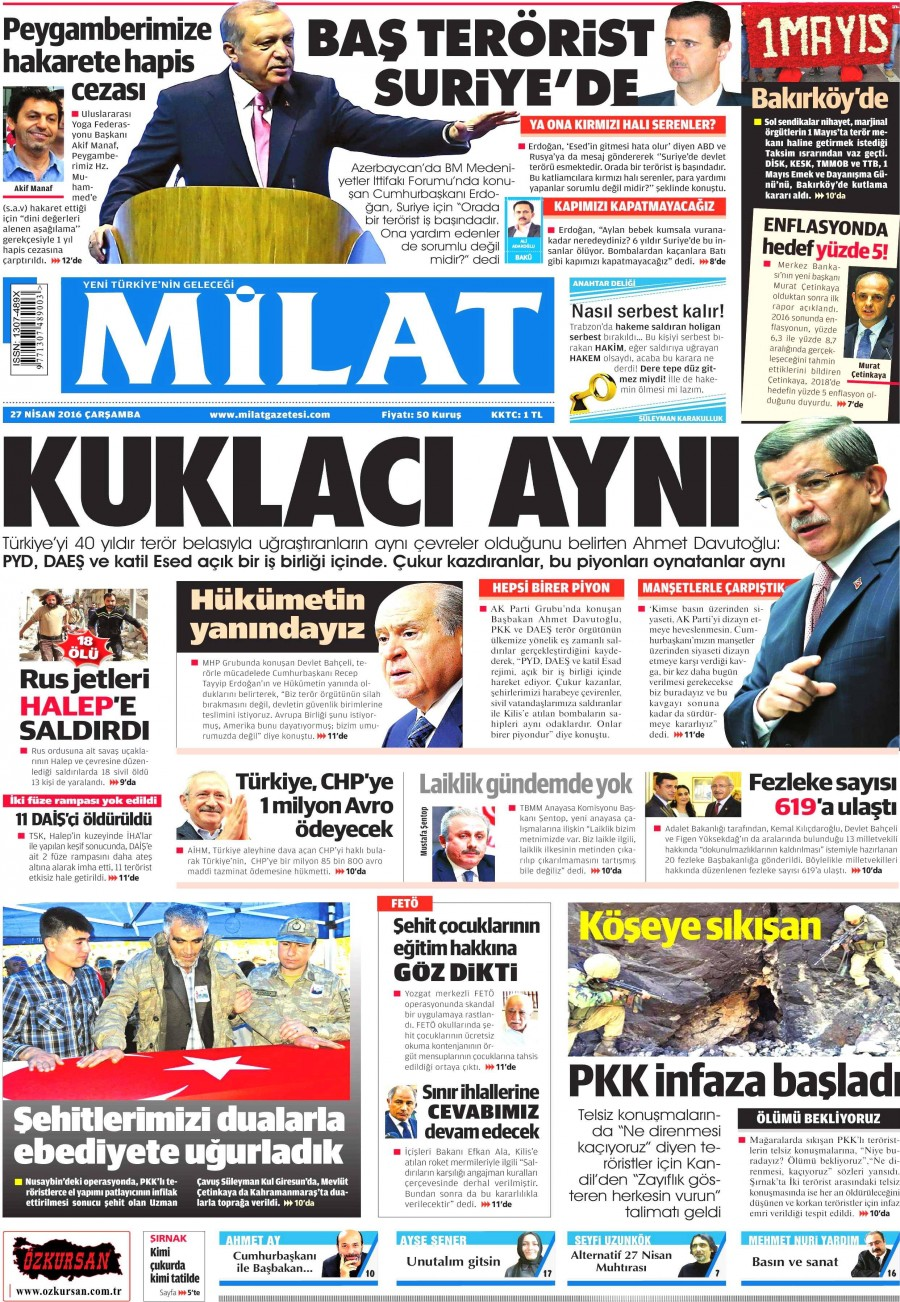 Milat Gazetesi Oku 27 Nisan 2016 Çarşamba