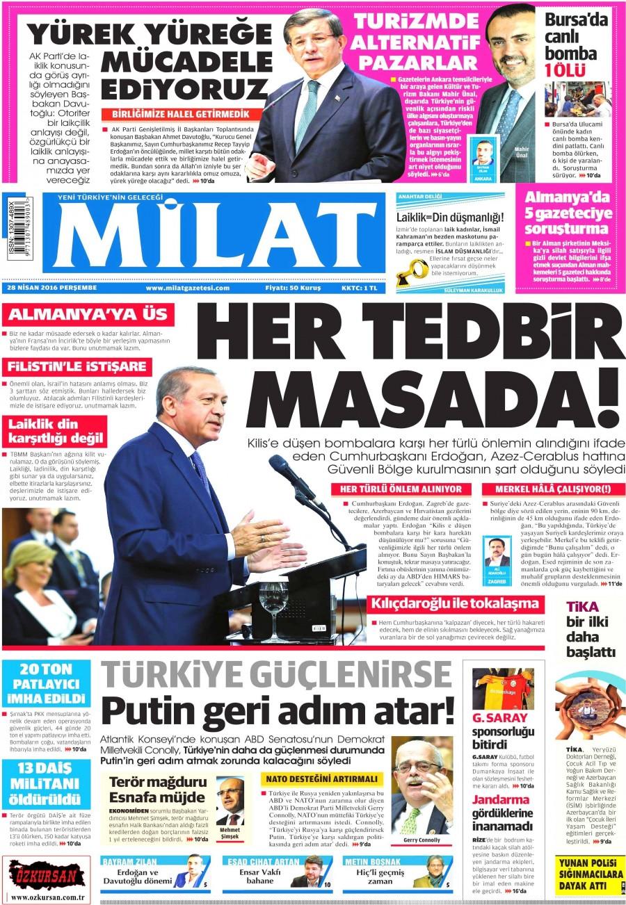Milat Gazetesi Oku Bugün 28 Nisan 2016 Perşembe
