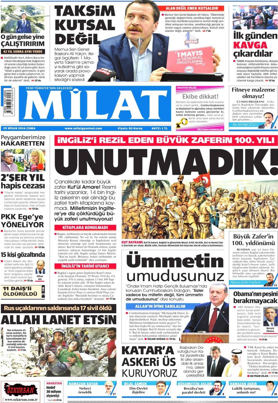Milat Gazetesi Oku 30 Nisan 2016 Cumartesi