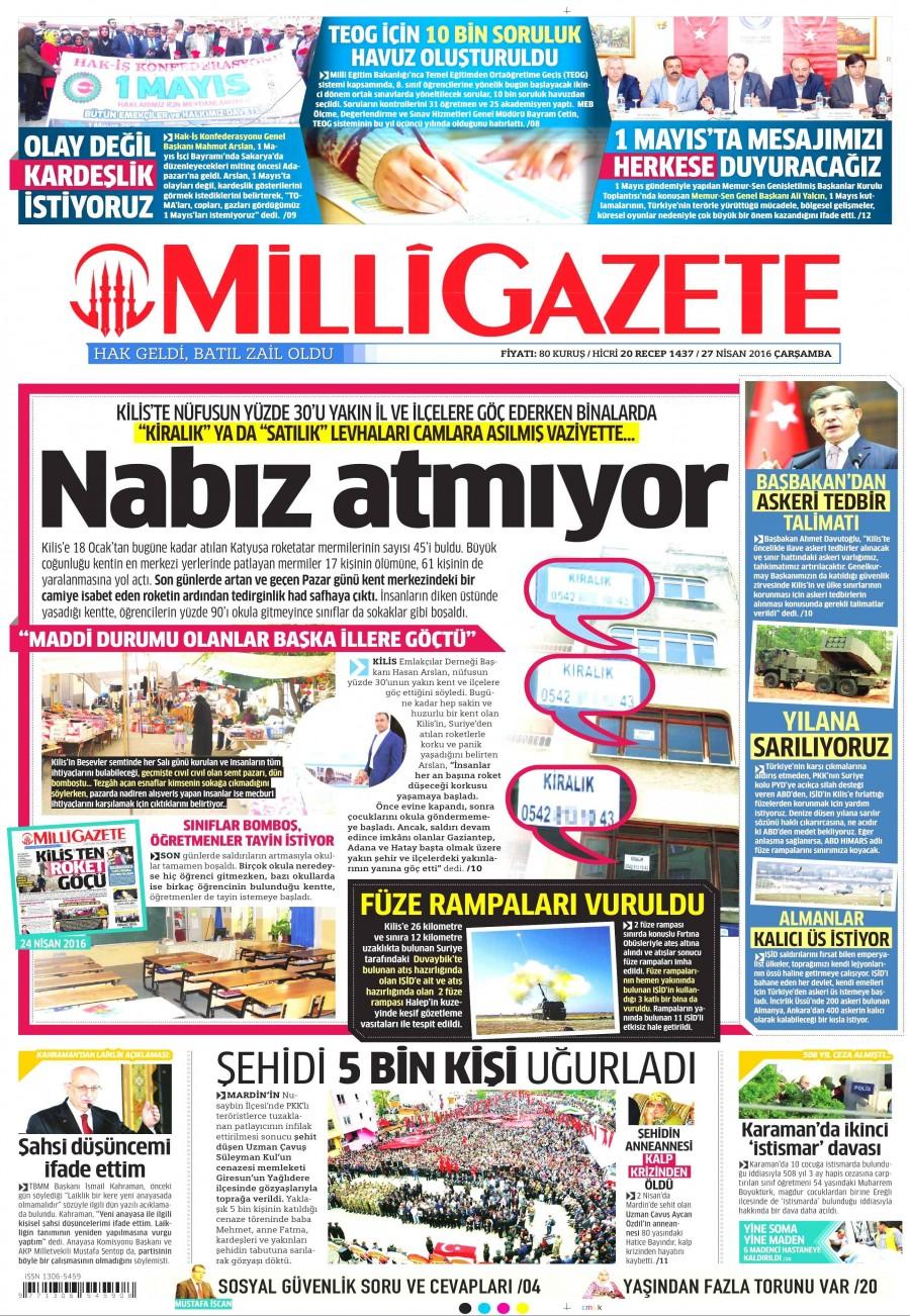 Milli Gazete Gazetesi Oku 27 Nisan 2016 Çarşamba