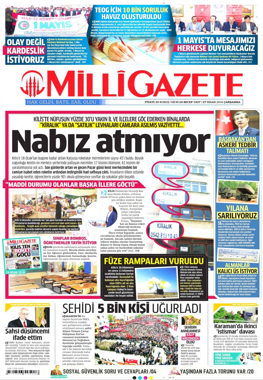 Milli Gazete Gazetesi Oku Bugün 27 Nisan 2016 Çarşamba