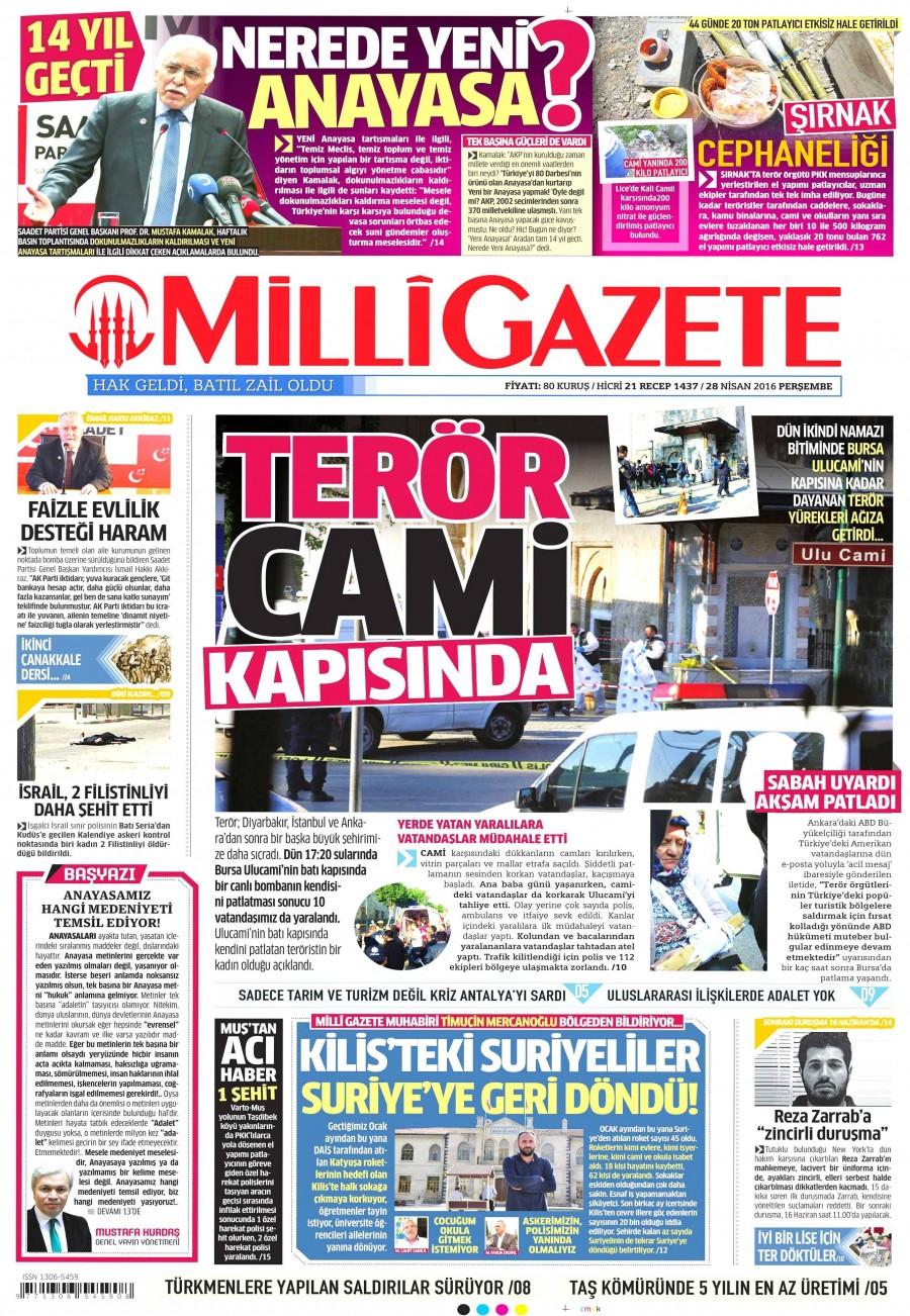 Milli Gazete Gazetesi Oku 29 Nisan 2016 Cuma