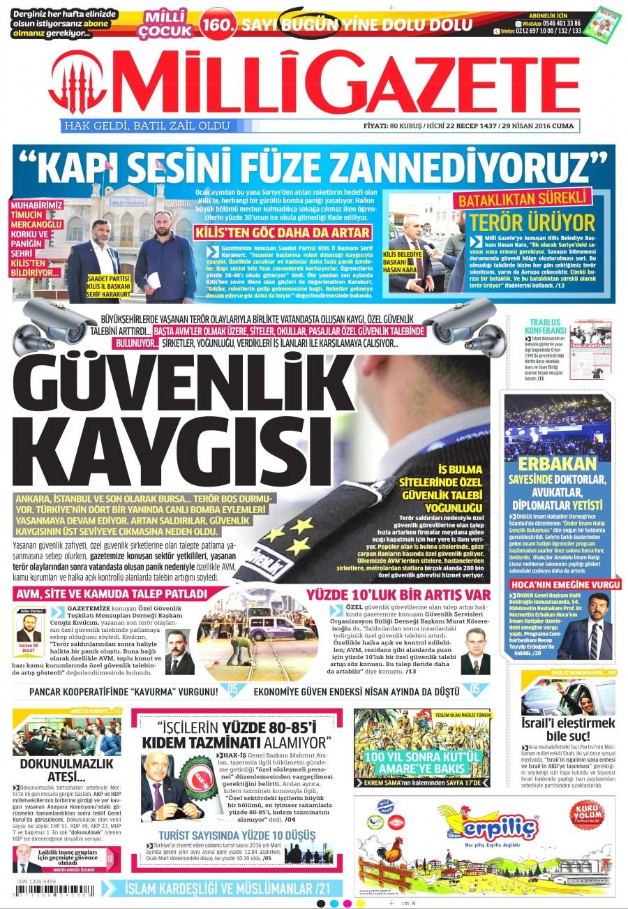 Milli Gazete Gazetesi Oku 30 Nisan 2016 Cumartesi