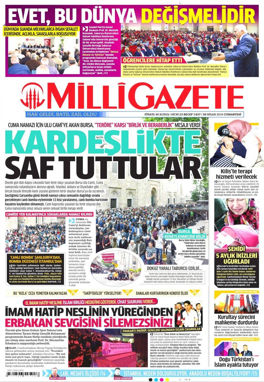 Milli Gazete Gazetesi Oku Bugün 30 Nisan 2016 Cumartesi
